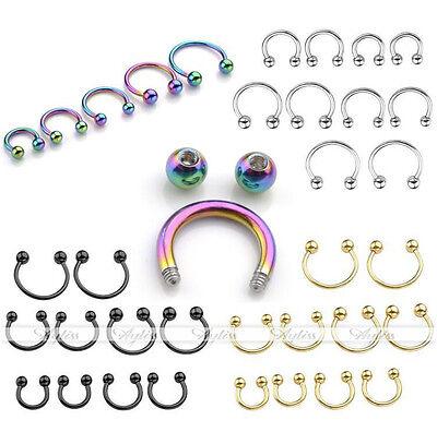 14G Steel Horseshoe Ear Cartilage Nose Lip Tongue Nipple Captive Ring Piercing