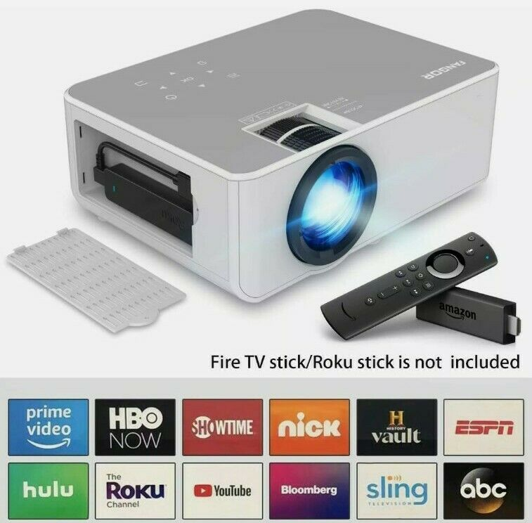 Fangor Multimedia Projector Bundle F-506US (White) Bluetooth Native 1080P Wi-Fi