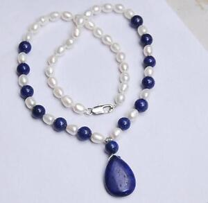 Natural 7-8MM White Akoya Pearl / Lapis Lazuli Pendant Necklace