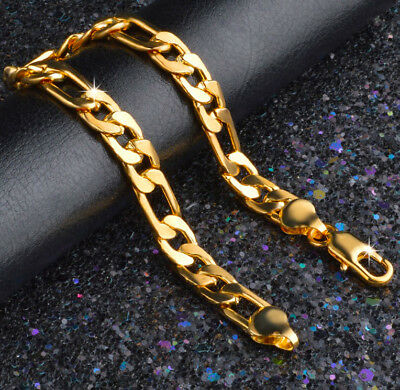 Mens Gold Figaro Bracelet - 24k Gold Bracelets Men's Bold Figaro Style Cuban Link Chain +GiftPk D471G
