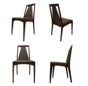 4 MID-CENTURY MODERN 1960s RETRO SCULPTURAL WALNUT DINING CHAIRS
