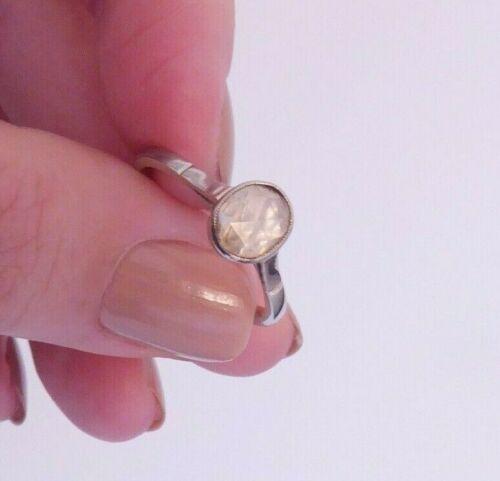 18ct gold rose cut diamond solitaire ring, art deco