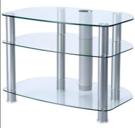 Three glass shelf universal TV stand - boxed in great condition.