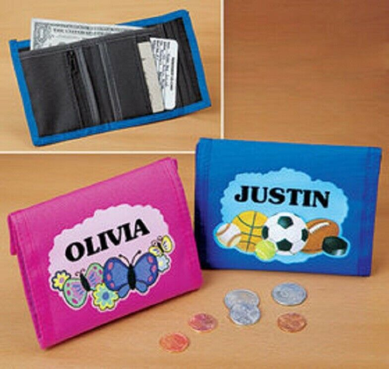 Personalized Wallet kids Boy or Girl Blue or Pink Cute Colorful Wallet Zippered Clothing, Shoes & Accessories