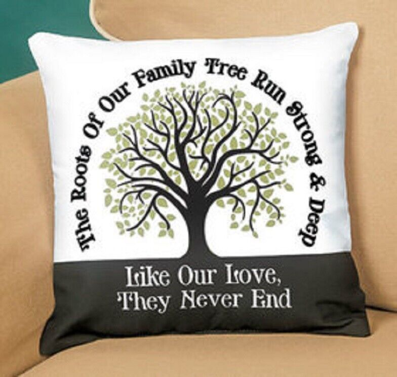 Family Roots Pillow Strong and Deep Cushion Pillow Our Family Roots GIFT NEW Home & Garden