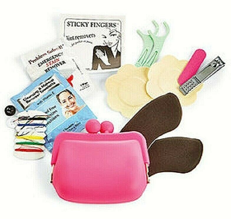 Fashion Emergency Purse Silicone Purse Hair Ties, Stain Remover MANY MORE NEW First Aid