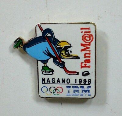 1998 IBM Fanmail Mascot Skiing Olympic Pin Nagano Japan  ICE HOCKEY for sale  Butler