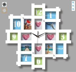 WHITE HANGING MODERN MULTI PHOTO FAMILY PICTURE FRAME TIME WALL CLOCK NEW