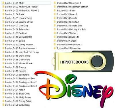 DISNEY CHARACTER EMBROIDERY SETS 1 TO 41 USB DRIVE BROTHER PES FREE PC SOFTWARE