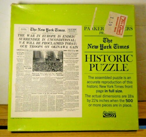 Parker Brothers 1968 New York Times Historic 500+ Puzzle - V-E DAY MAY 8 1945