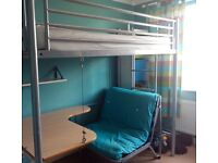 Metal Cabin/Bunk Bed With Desk, Without Futon