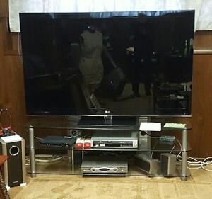 "65"" LG 3D LED TV with Toshiba soround sound and glass stand"