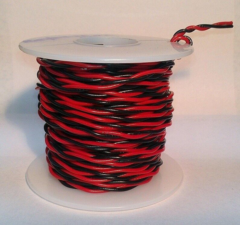 14 AWG UL1007 UL1569 Hook-up Wire BLACK & RED Twisted Pair ~ 25 foot spools