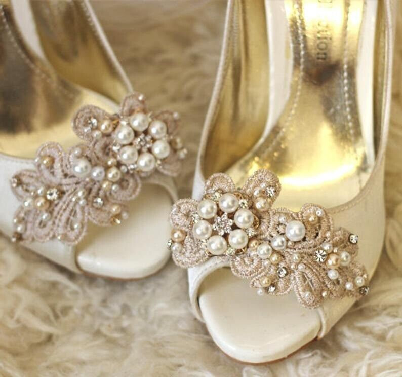 267b3556de219 Rhinestone and pearl gold tone shoe clips handmade | in Cannock,  Staffordshire | Gumtree