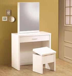Ultra Modern White Finish Wood Vanity Make Up Dressing Table Bench Mirror Set
