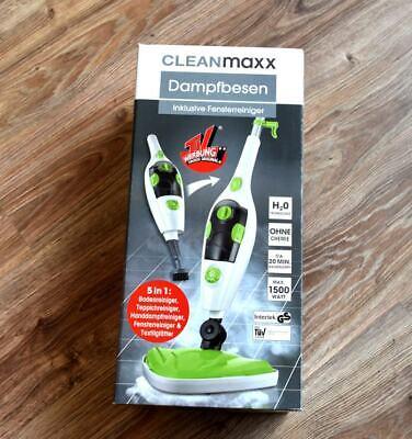 5in1 DAMPFBESEN Weiß Grün Dampfmop Dampfreiniger Bodenreiniger von CLEANMAXX