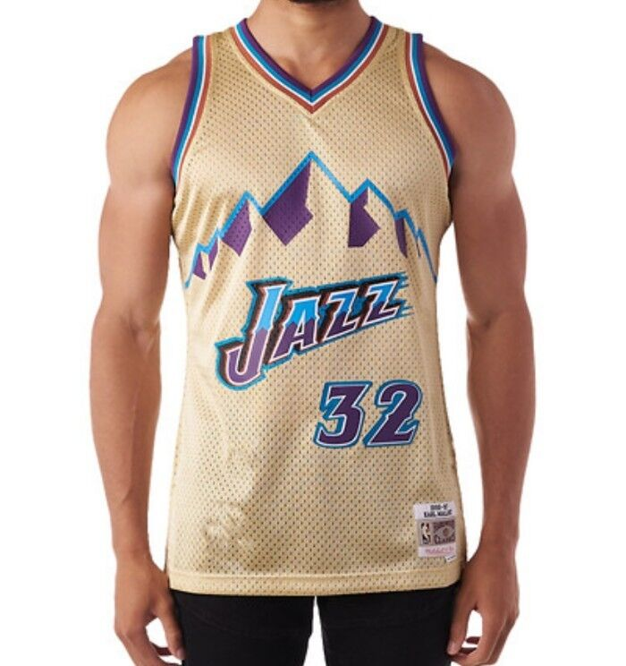 brand new fc6b9 8d401 Details about Mitchell & Ness Swingman NBA Jersey Utah Jazz #32 Karl Malone  Gold Collection