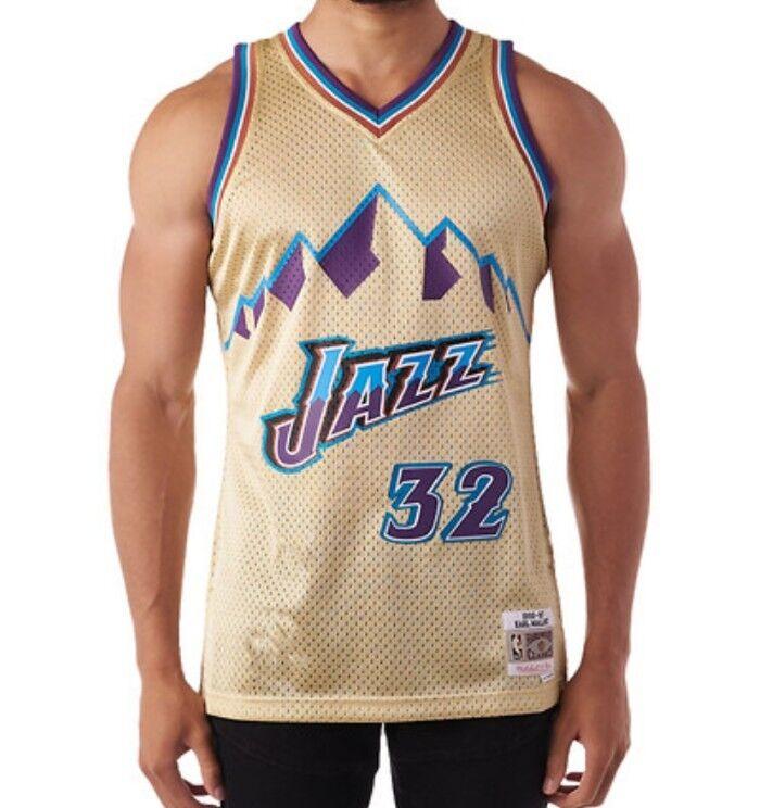 brand new 8db25 b0826 Details about Mitchell & Ness Swingman NBA Jersey Utah Jazz #32 Karl Malone  Gold Collection