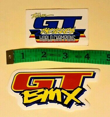 "5 3//4/"" GT DYNO Stickers bmx YELLOW//WHITE//BLACK//CHROME 2 FREE SHIPPING Set of"