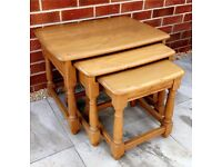 Ercol - Model 1702 Blonde Trinity Vintage Nest Of 3x Tables VGC