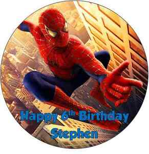 Personalised 19cm Spiderman Edible Wafer Paper Cake Topper