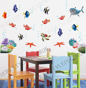 FINDING NEMO Wall Stickers Sea Fish Shark Bathroom Decor Children Kids Room  UK Part 54