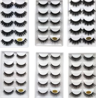 5Pairs Wholesale Handmade Real Mink 3D False Eyelashes Cross Thick Long Lashes/L - Longs Wholesale