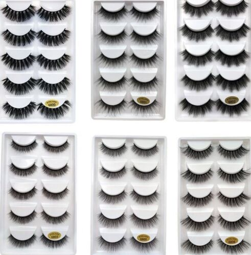 Details about 5Pairs Wholesale Handmade Mink 3D False Eyelashes Cross Thick  Long Lashes w7