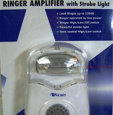 Loud Telephone Ringer, Very Bright Strobe Light Flasher Phone Ring Signaler