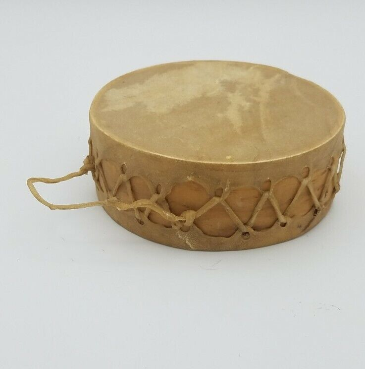 Handmade Drum Wood Natural Hide rawhide Small Native American-style unsigned