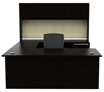 New Verde Modern U-shape Executive Office Desk With Hutch
