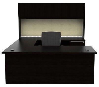 New Verde Modern U-shape Executive Office Desk With Hutch