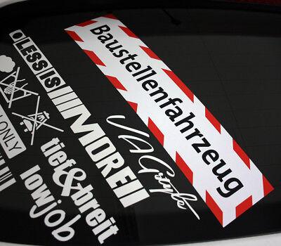 BAUSTELLENFAHRZEUG 40cm Baustelle Sticker Hinweis LKW Pkw Warnung DUB Aufkleber