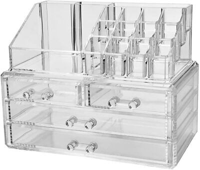 Acrylic Jewelry & Cosmetic Storage Organization Box w/ Brush Holder & 4 Drawers