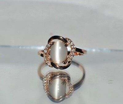 - GLAMOROUS 1.57ct NATURAL OPAL CATS EYE 14K Y GOLD OVERLAY STERLING  SILVER RING