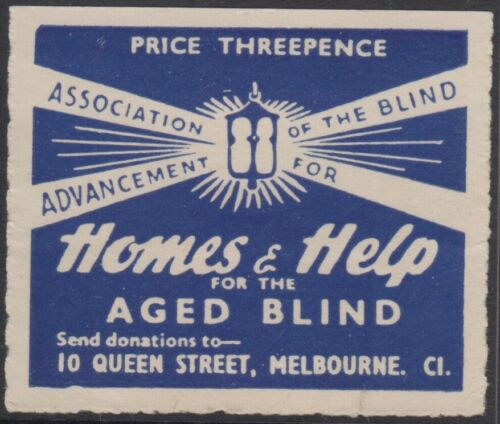 Stamp Association for the Blind Melbourne Australia 3d Cinderella label
