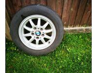 "BMW 3 SERIES E36 15"" ALLOY WHEEL & TYRE - SPARE WHEEL - SPACE SAVER - 205/60/15"