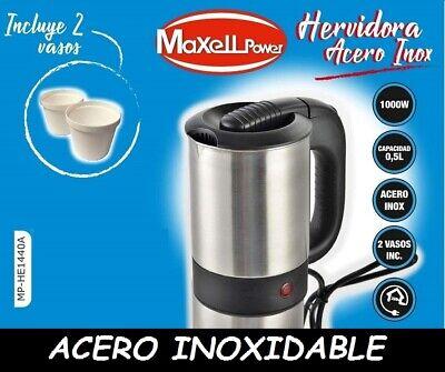 HERVIDORA ELÉCTRICA DE AGUA 0.5L / 1000W ACERO INOXIDABLE + 2 VASOS...