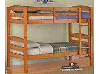 Pine bunk bed with mattresses
