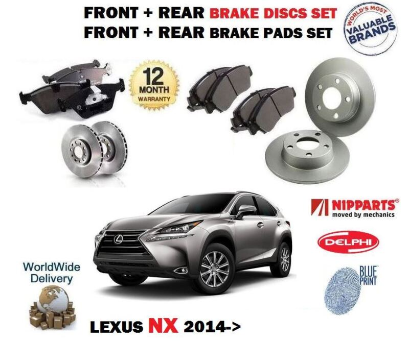 FOR LEXUS NX 200T 2.0 300H 2.5 2014-> FRONT + REAR BRAKE DISCS SET + DISC PADS