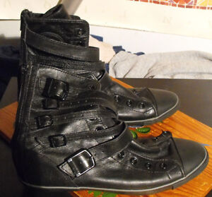 USED Woman's Black Leather High-top Converse w/Zippers/Straps