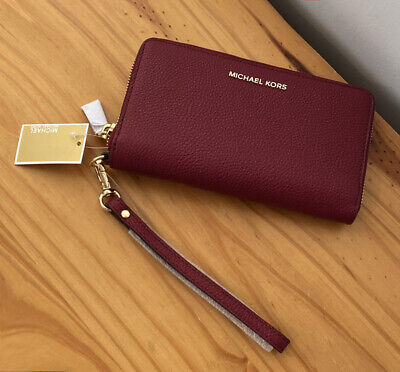 Michael Kors Jet Set Travel Maroon Pebbled Leather Wristlet Phone Wallet Purse