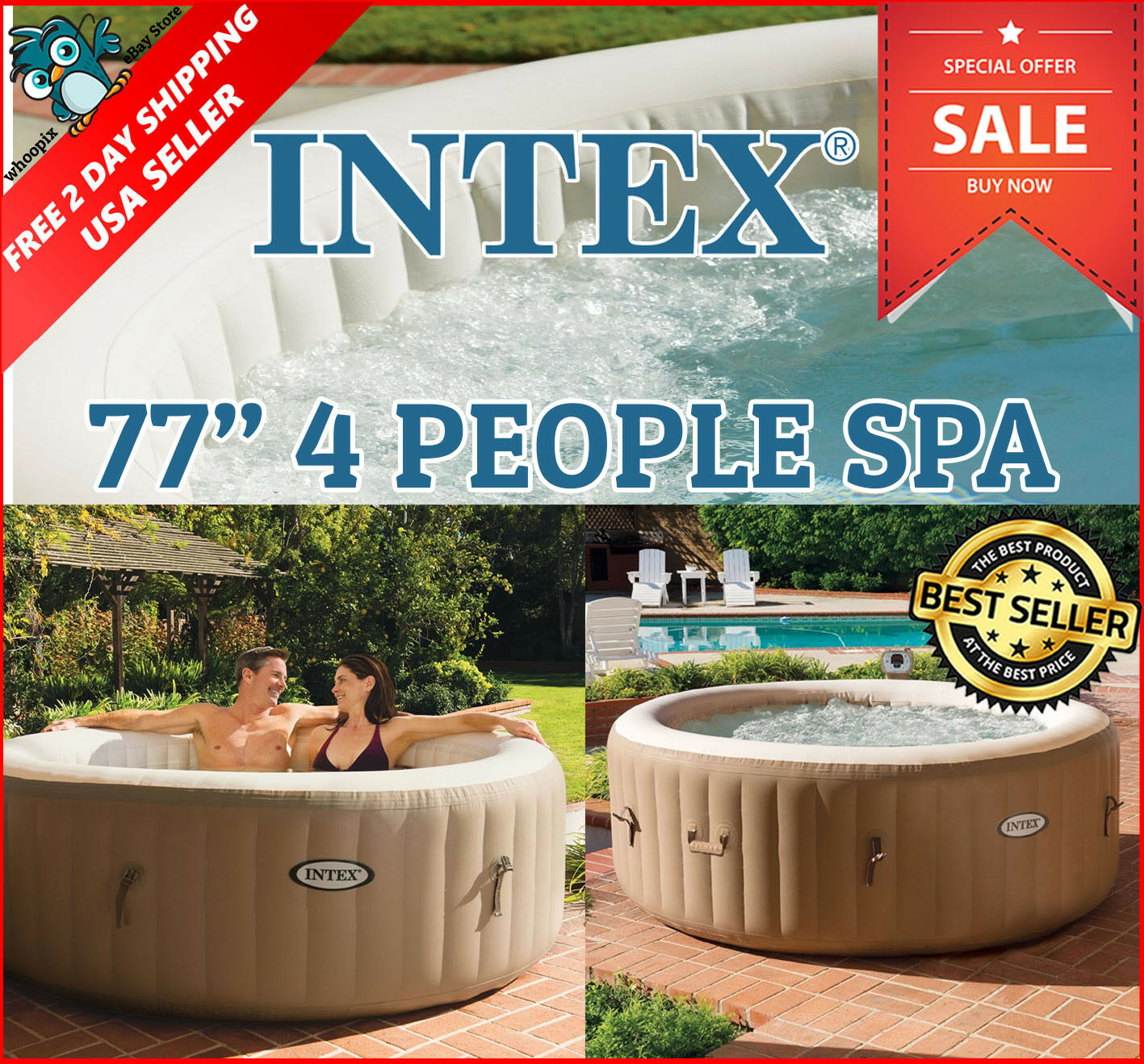 Intex 77-inch 4-People Spa Portable Bubble Massage Relax Health Heat ...