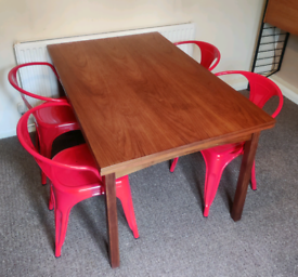 Teak extending extendable dining table mid century wood wooden vintage