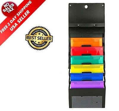 Wall File Organizer Office Folder Hanging Holder Letter Mount Storage 6 Pockets