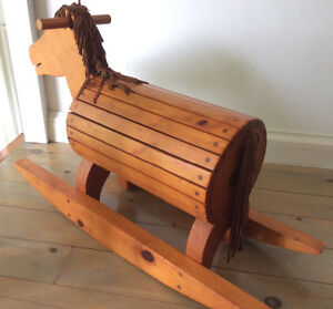 Vintage pine Cradle and Rocking Horse