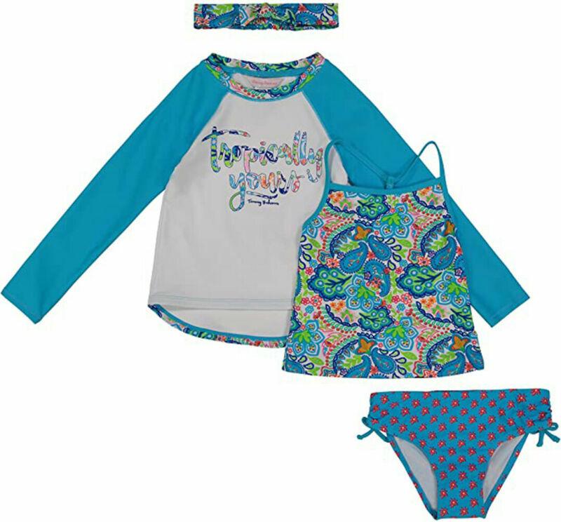 Tommy Bahama Girls Turquoise 4Pc Rashguard Set Size 2T 3T 4 5 6 6X
