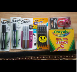 School supplies bic pens sharpie marker I have alot of stuff