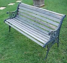 Timber slat vintage cast iron ornate bench seat Panania Bankstown Area Preview