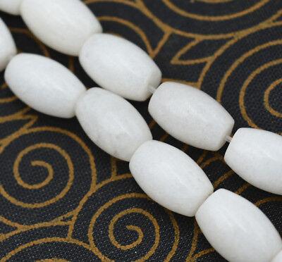 Natural white jade Gemstone Rice-shaped Loose Beads 15